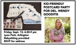 Blue Families Kid-Friendly Postcard Party for Wendy Gooditis @ Arlington Dems | Arlington | VA | United States