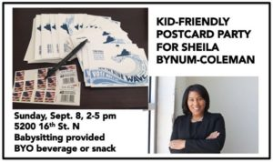 Blue Families Post Card Party for Sheila Bynum-Coleman