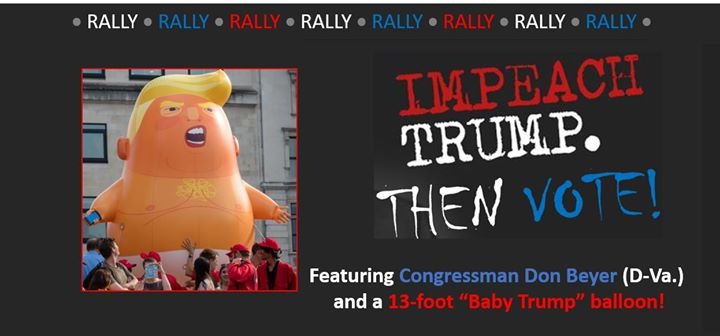 "Popular Oversized ""Baby Trump"" Balloon to Anchor Oct. 19 Arlington Impeachment Rally"