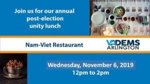 Arlington Dems Unity Lunch @ Nam-Viet Restaurant | Arlington | VA | United States