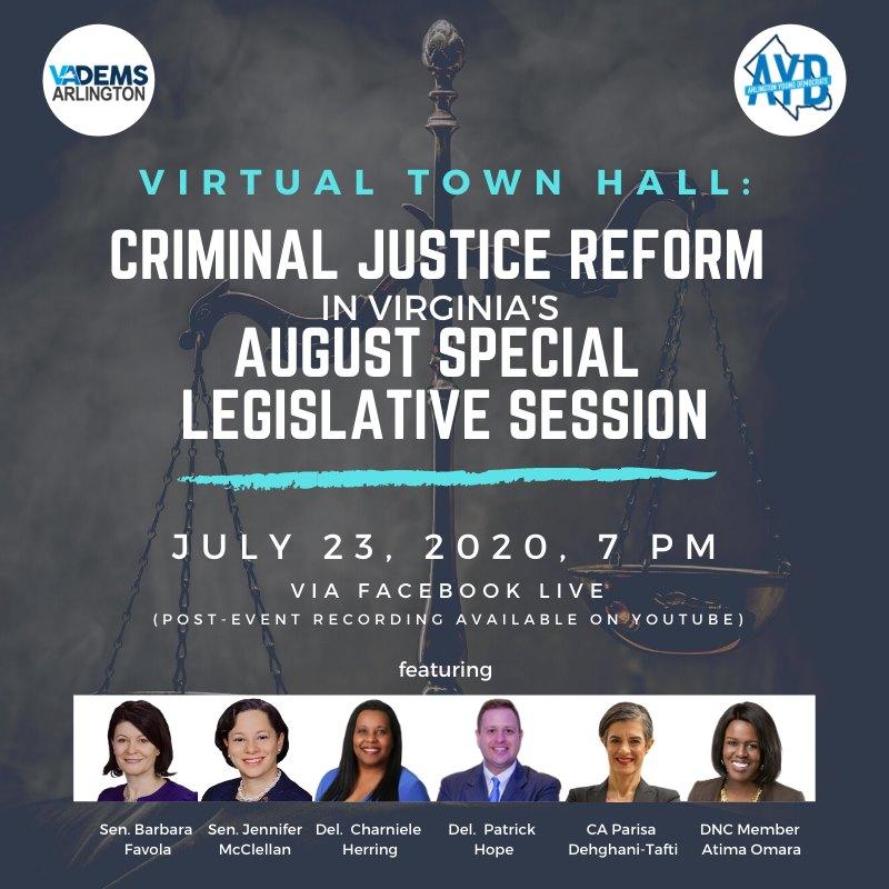 Los demócratas de Arlington y los jóvenes demócratas de Arlington serán coanfitriones del foro virtual sobre la reforma de la justicia penal el 23 de julio